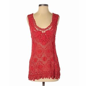 Baraschi Red Crochet Lace Top from Anthropologie